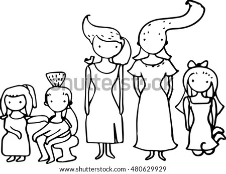 hand draw imagination cartoon people line stock vector royalty free