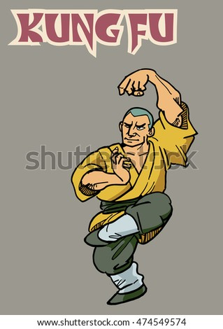 Hand draw of Kungfu action in color