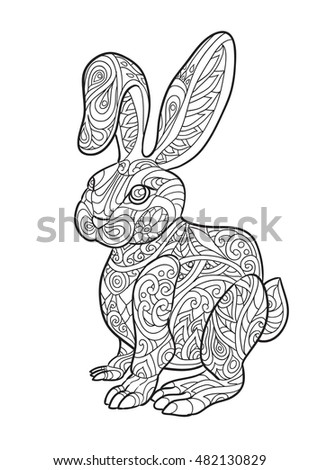 Hand Draw Of Rabbit In Zentangle Style For Adult Coloring