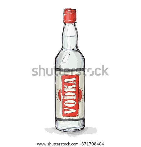 Hand draw of vodka bottle. Vector illustration.