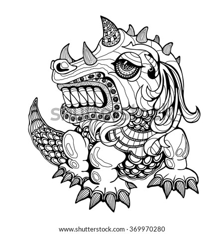 Hand draw ornamental dragon outline illustration with decorative ornaments.Zentangle stylized dragon.Tattoo ornament vector illustration isolated on white background. Sketch for tattoo art or makhenda - stock vector