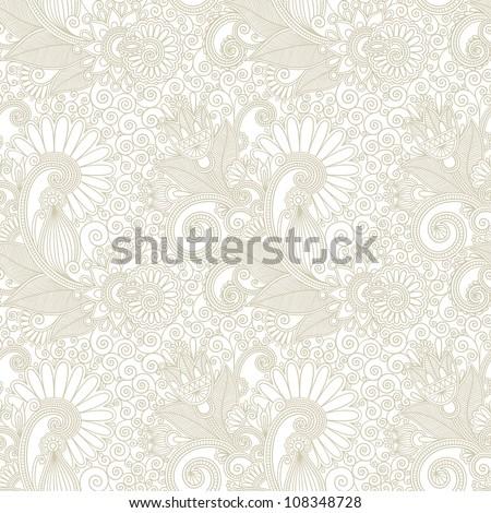 hand draw ornate seamless flower paisley design background - stock vector