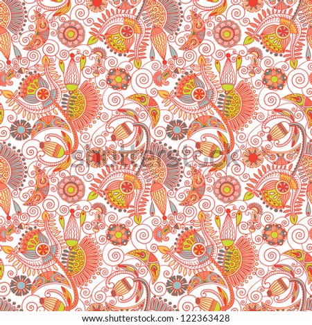 hand draw ornate seamless flower paisley design background