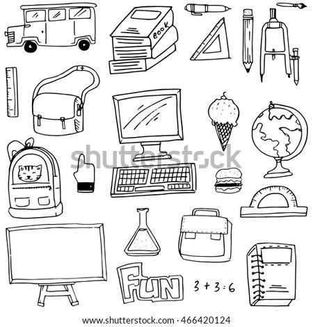 School Stuff Outline Icon Set 20 Stock Vector 456142999 ...