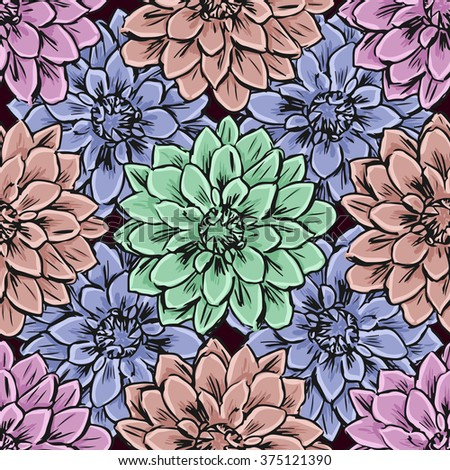 Hand draw seamless floral pattern. Vector illustration. - stock vector
