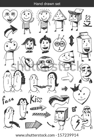 Hand draw set - faces
