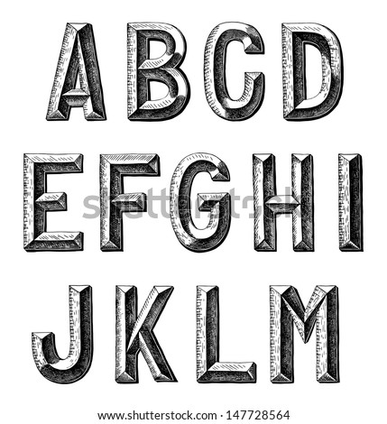 hand draw sketch alphabet design - stock vector