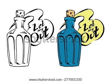 Hand draw sketch decanter of gin inside and sign Let my out. Vector illustration.