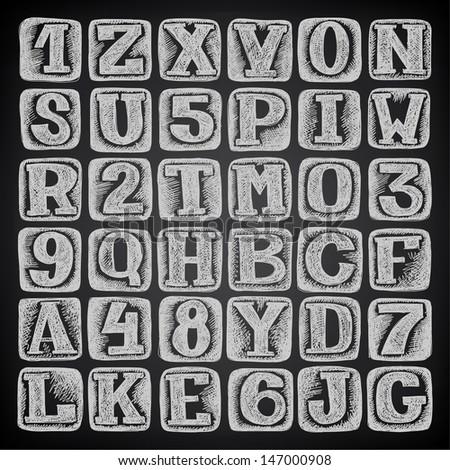 hand draw sketch doodle alphabet design on black background - stock vector
