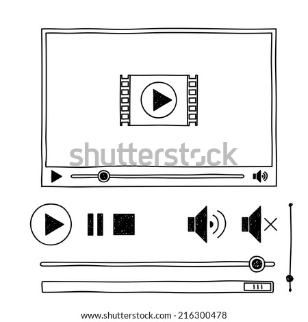 Hand draw sketch doodle video player for web - stock vector