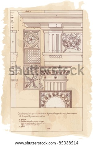 """Hand draw sketch doric architectural order based """"The Five Orders of Architecture"""" is a book on architecture by Giacomo Barozzi da Vignola from 1593. Vector illustration. - stock vector"""