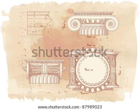 Hand draw sketch ionic architectural order & vintage watercolor background - stock vector