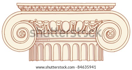 """Hand draw sketch Ionic column based """"The Five Orders of Architecture"""" is a book on architecture by Giacomo Barozzi da Vignola from 1593. Vector illustration. - stock vector"""