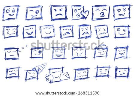 hand draw sketch, square emoticon  - stock vector