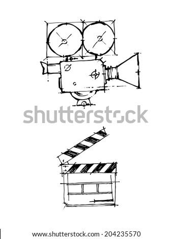 Hand draw sketch. Vintage cinema camera and clapper. - stock vector