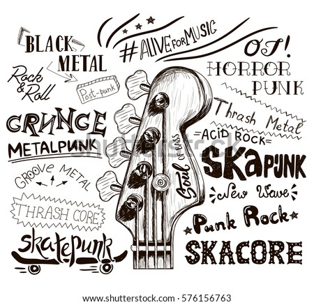 Hand draw sketch with bass guitar for rock festival poster rock and roll sign