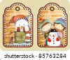 hand draw sketchy christmas tags with happy snowman - stock vector