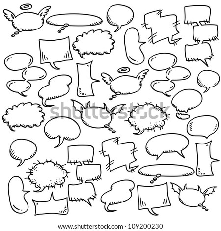 hand draw speech bubbles - stock vector