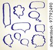 Hand draw speech bubbles set - stock vector