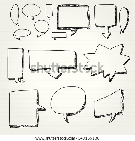 Hand draw speech bubbles, vector - stock vector