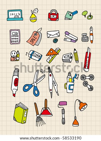 hand draw stationery - stock vector