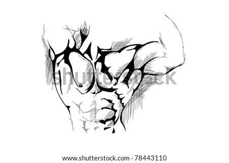 hand draw strong man on white background - stock vector