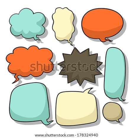 hand draw style abstract comic speech bubble design elements