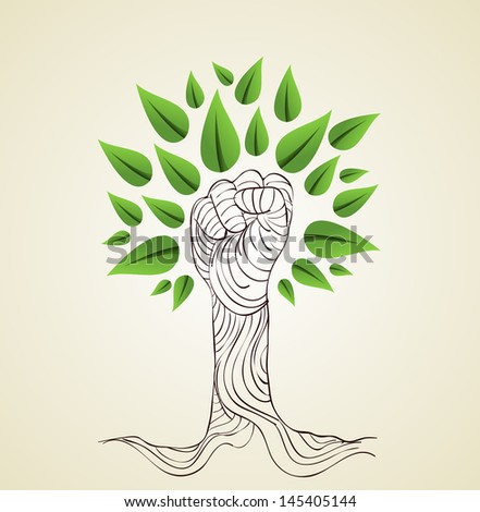 Hand draw style save the Earth tree idea. This illustration is layered for easy manipulation and custom coloring - stock vector