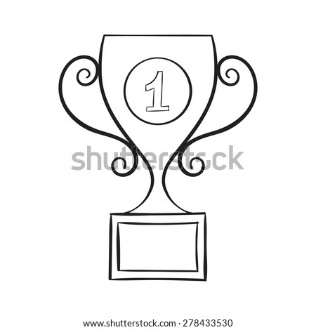 Hand draw trophy - stock vector