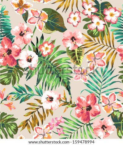 hand draw tropical flower,blossom cluster pattern background - stock vector