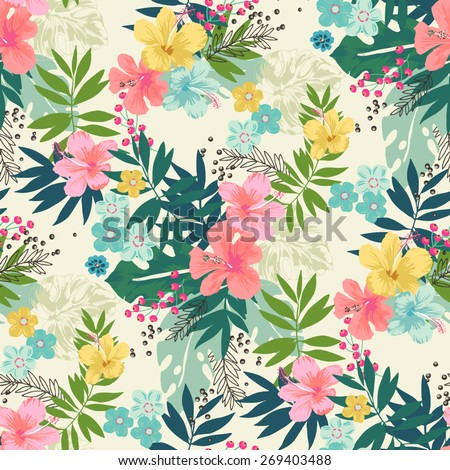 Hand draw tropical flower,blossom cluster seamless pattern background - stock vector