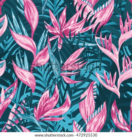 Hand draw tropical flowers and leaves seamless pattern