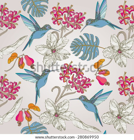 hand draw tropical flowers and paradise birds, blossom cluster seamless pattern background - stock vector