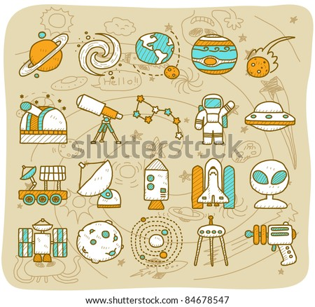 hand draw Universe ,space icon set. Planets solar system - stock vector