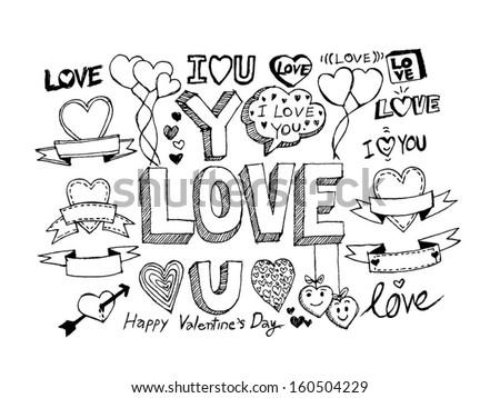 hand draw valentines day design stock vector 160504229 - shutterstock, Ideas