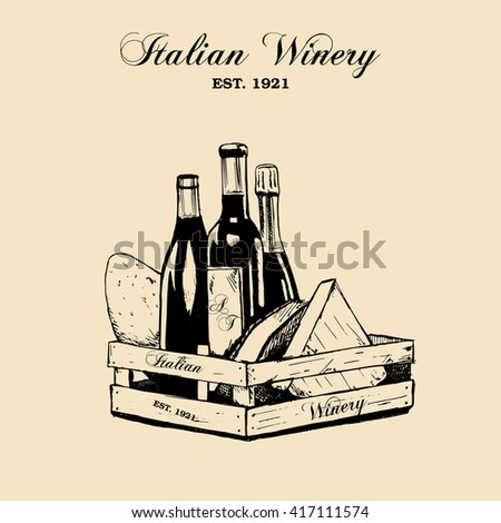 Hand draw vector vintage set of cheese and wine in grunge style.  - stock vector