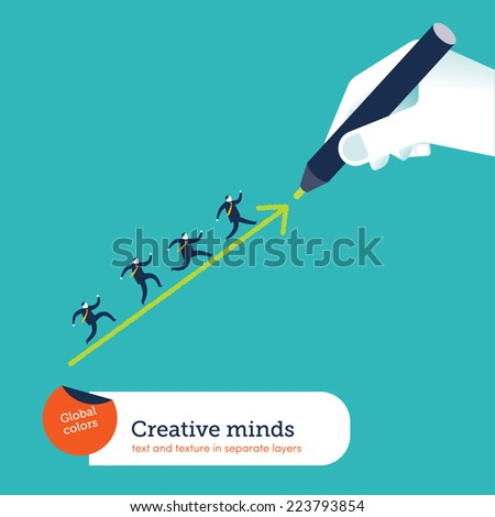 Hand drawing an arrow. Vector illustration Eps10 file. Global colors. Text and Texture in separate layers. - stock vector
