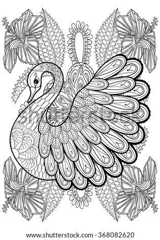 Hand drawing artistic Swan in flowers for adult coloring pages A4 size in doodle, zentangle tribal style, ethnic ornamental patterned tattoo, logo, t-shirt or prints. Animal bird vector illustration. - stock vector