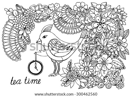 Hand drawing  bird and doodle flower pattern. Time for tea. 5 o'clock is tea time - stock vector
