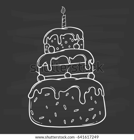 Hand Drawing Birthday Cake Sprinkles Candle Stock Vector 641617249