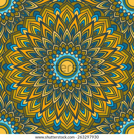 hand-drawing blue and yellow colored ornamental lace abstract seamless background with many details for design of silk neckerchiefs or printing on textile or use for card, invitation or banner cover. - stock vector