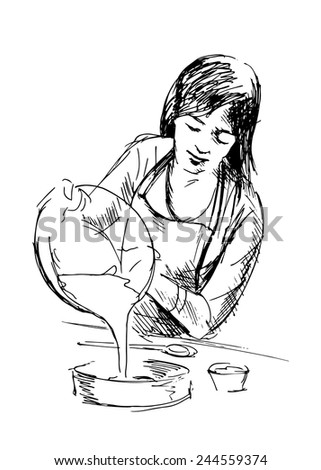 Hand drawing boiling women. Vector illustration - stock vector