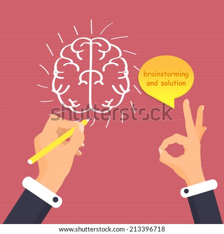 Hand Drawing Brainstorm Creative Ideas Business Vector Illustration - stock vector