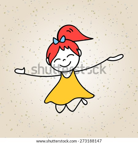 hand drawing cartoon character abstract concept happy kids