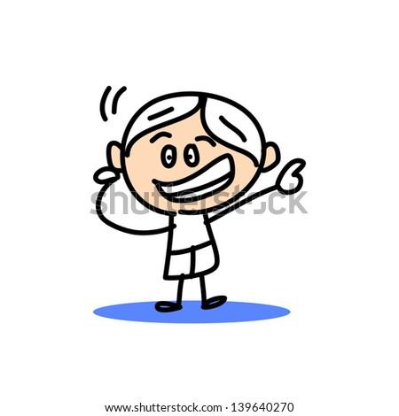 hand drawing cartoon character emotion boys - stock vector