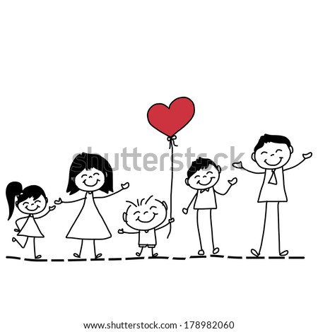 hand drawing cartoon character happy family - stock vector