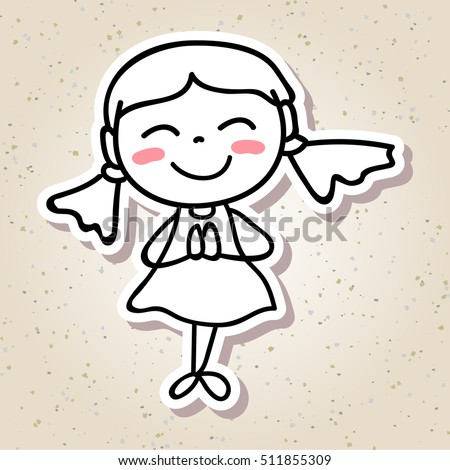 hand drawing cartoon concept happiness happy kid girl paying respect with big smile line