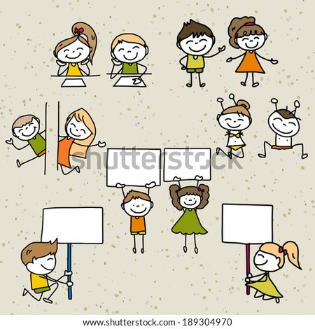 hand drawing cartoon concept happy kids playing - stock vector