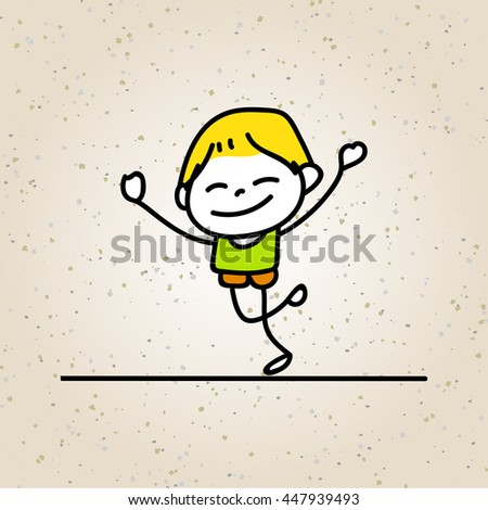 hand drawing cartoon happy boy smile with happiness concept character vector illustration