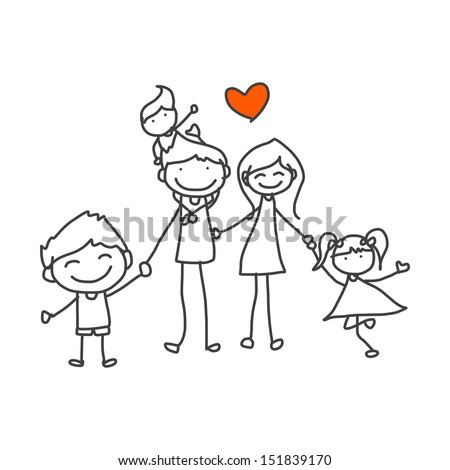 hand drawing cartoon happy family playing - stock vector